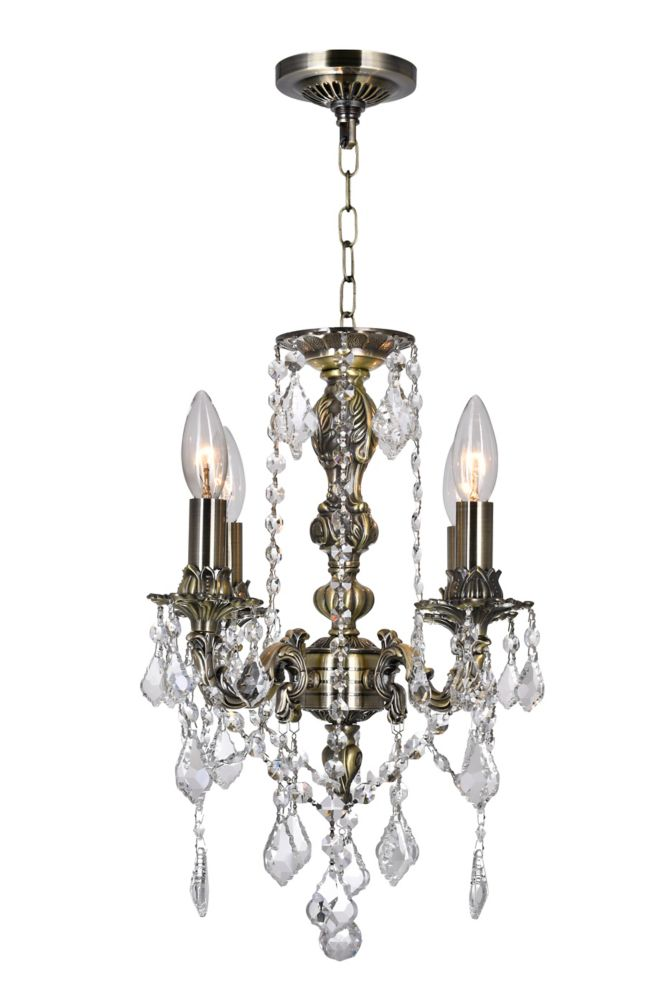 CWI Lighting Brass 14 inch 4 Light Mini Pendant with Antique Brass Finish