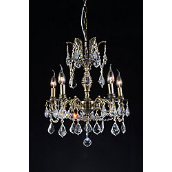 Brass 18 inch 5 Light Chandelier with Antique Brass Finish