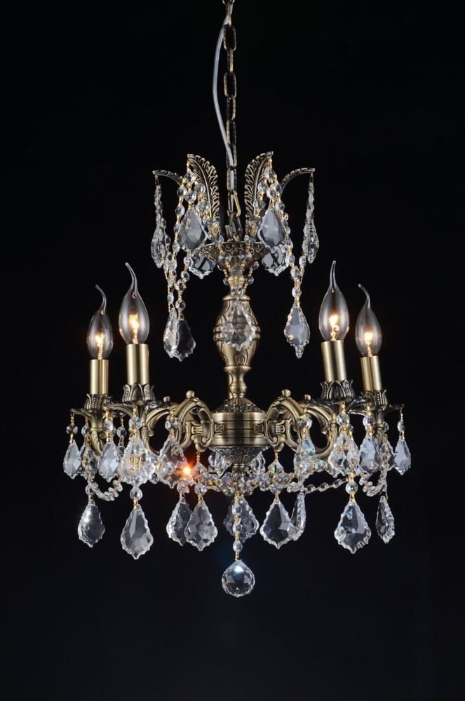 CWI Lighting Brass 18 inch 5 Light Chandelier with Antique Brass Finish