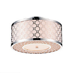 Swiss 12 inch 3 Light Flush Mount with Chrome Finish