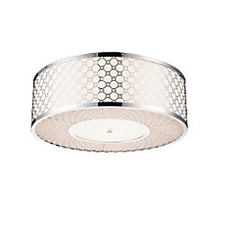Swiss 16 inch 4 Light Flush Mount with Chrome Finish