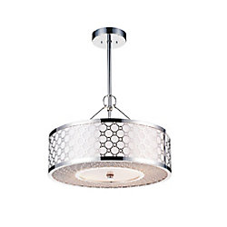 Swiss 12 inch 3 Light Mini Pendant with Chrome Finish
