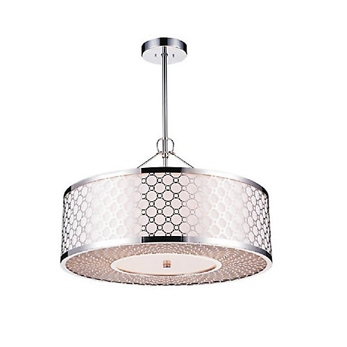 Swiss 20 inch 5 Light Chandelier with Chrome Finish