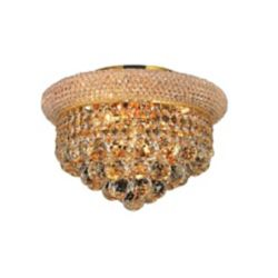 CWI Lighting Empire 12 inch 3 Light Flush Mount with Gold Finish