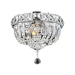 Stefania 12-inch 3-Light Flush Mount Light Fixture with Chrome Finish