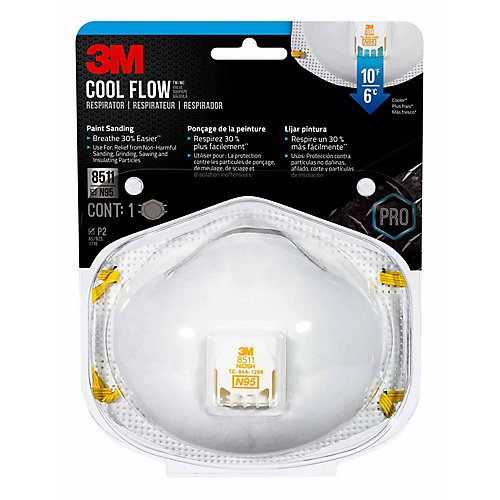Respirator, 8511PA1-A-PS, valved, disposable, white, 1/pack