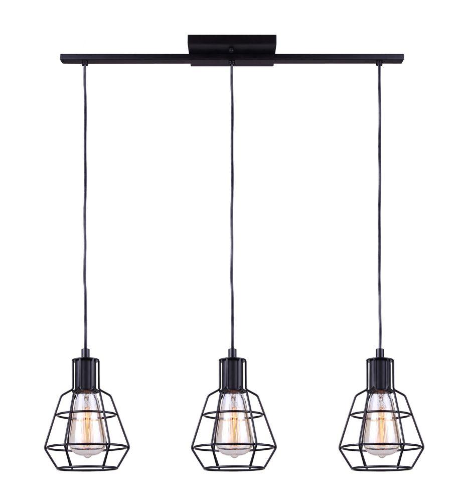 Canarm TREY 3-light matte black cord pendant
