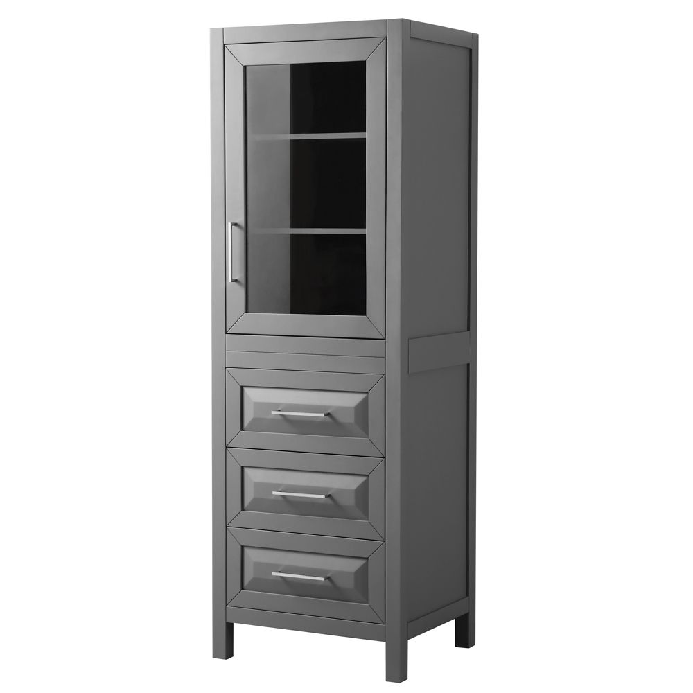 Daria Linen Tower in Dark Gray with Shelved Cabinet Storage and 3 Drawers