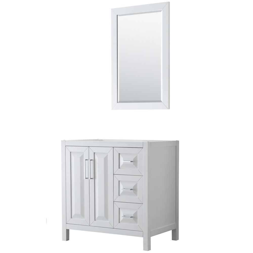 Daria 36 inch Single Vanity in White, No Top, No Sink, 24 inch Mirror