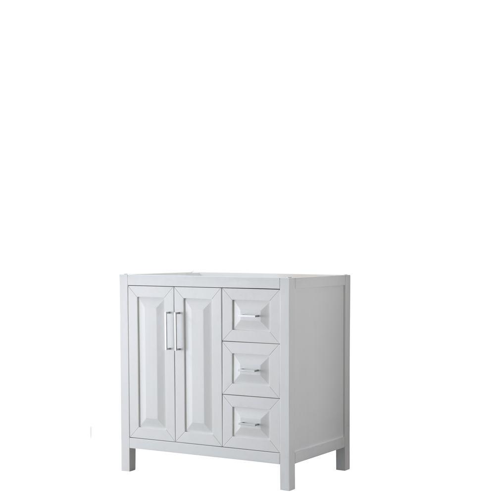 Daria 36 inch Single Vanity in White, No Top, No Sink, No Mirror