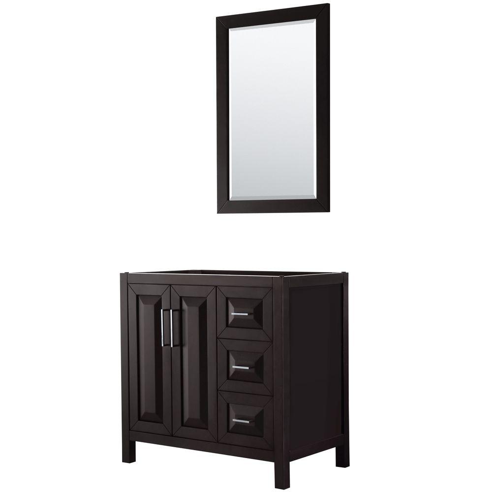 Daria 36 inch Single Vanity in Dark Espresso, No Top, No Sink, 24 inch Mirror