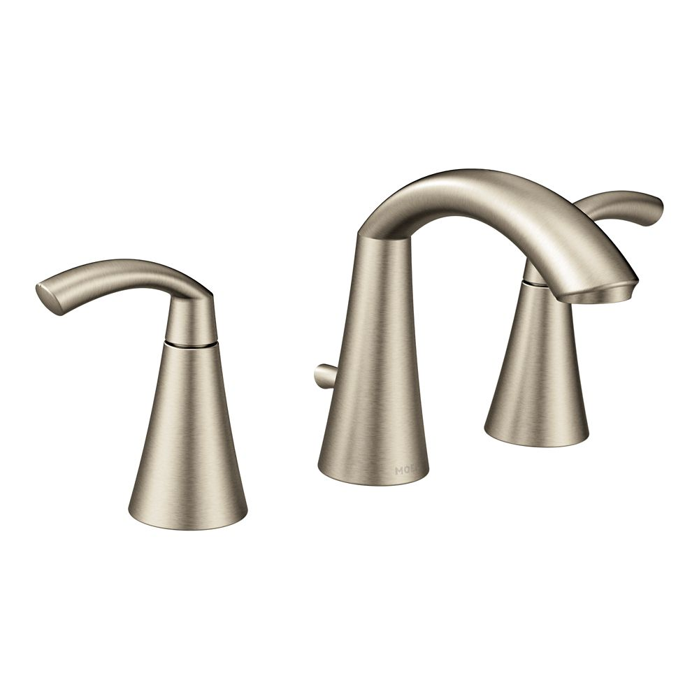 Glyde Brushed Nickel Two-Handle High Arc Bathroom Faucet (Valve Sold Separately)