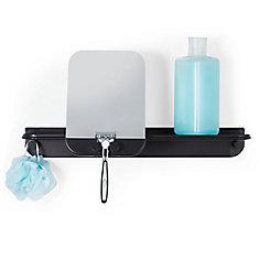 Glide Shower Shelf with Mirror Black Aluminum