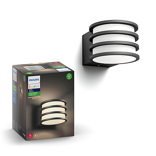 Hue Itegrated LED White Lucca Outdoor Wall Light in Black Finish