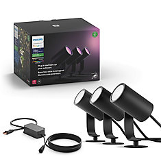 Hue White and Colour Ambiance Lily Outdoor Spot Light (3-Pack) Base Kit - Black Finish