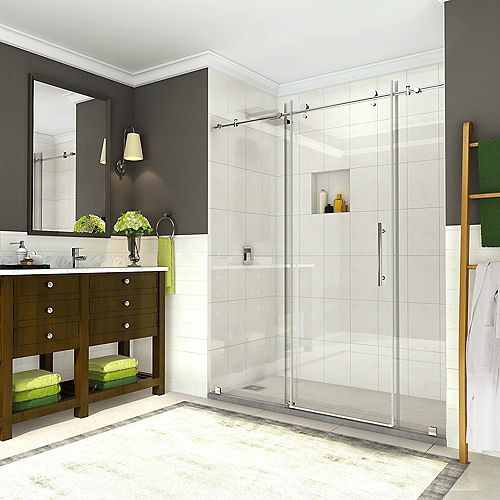 Aston Coraline 68-inch to 72-inch x 76-inch Frameless Sliding Shower Door in Chrome