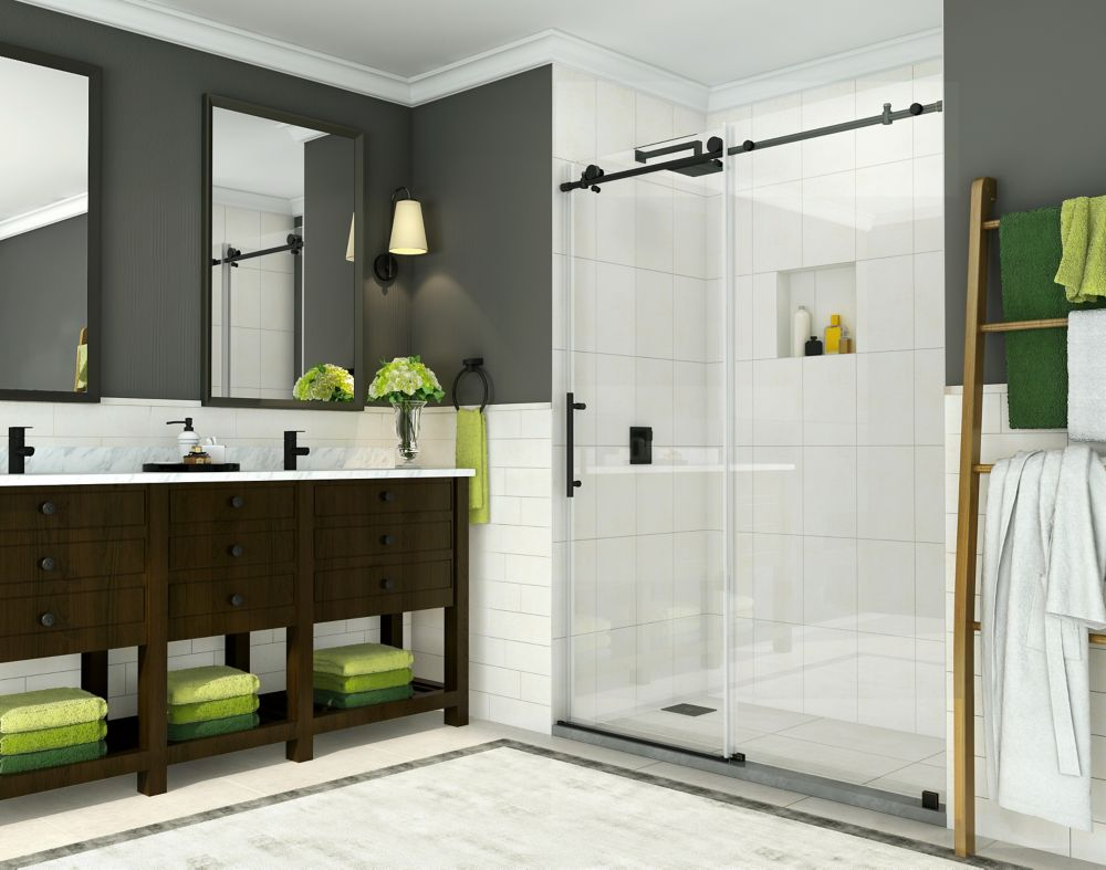 Aston Coraline 56 inch to 60 inch x 76 inch Frameless Sliding Shower Door in Oil Rubbed Bronze