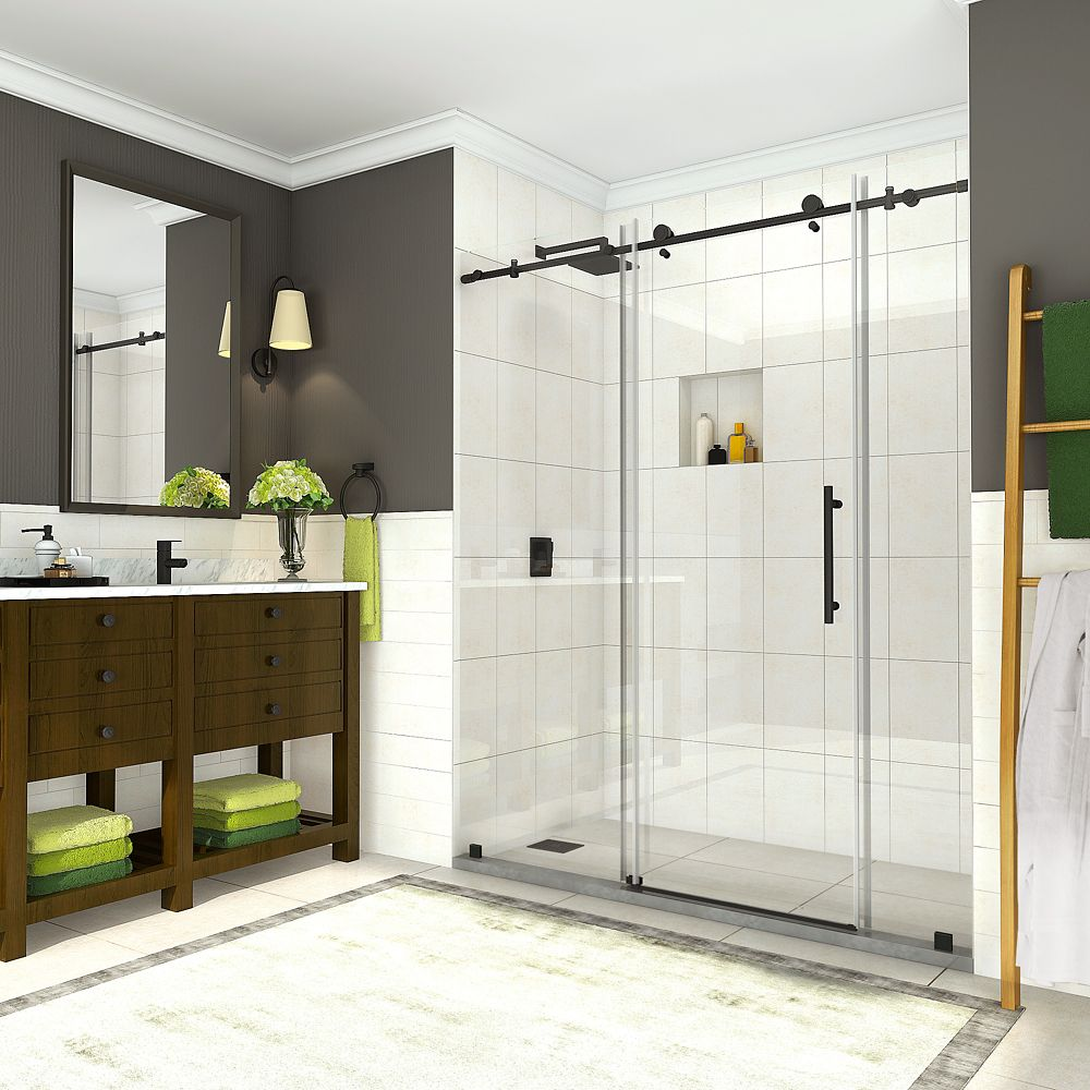 Aston Coraline 68 inch to 72 inch x 76 inch Frameless Sliding Shower Door in Oil Rubbed Bronze