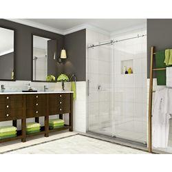 Aston Coraline 56-inch to 60-inch x 76-inch Frameless Sliding Shower Door in Stainless Steel