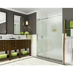 Aston Coraline 44-inch to 48-inch x 76-inch Frameless Sliding Shower Door with Frosted Glass in Chrome
