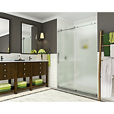 Coraline 56 in. to 60 in. x 76 in. Frameless Sliding Shower Door with Frosted Glass in Chrome