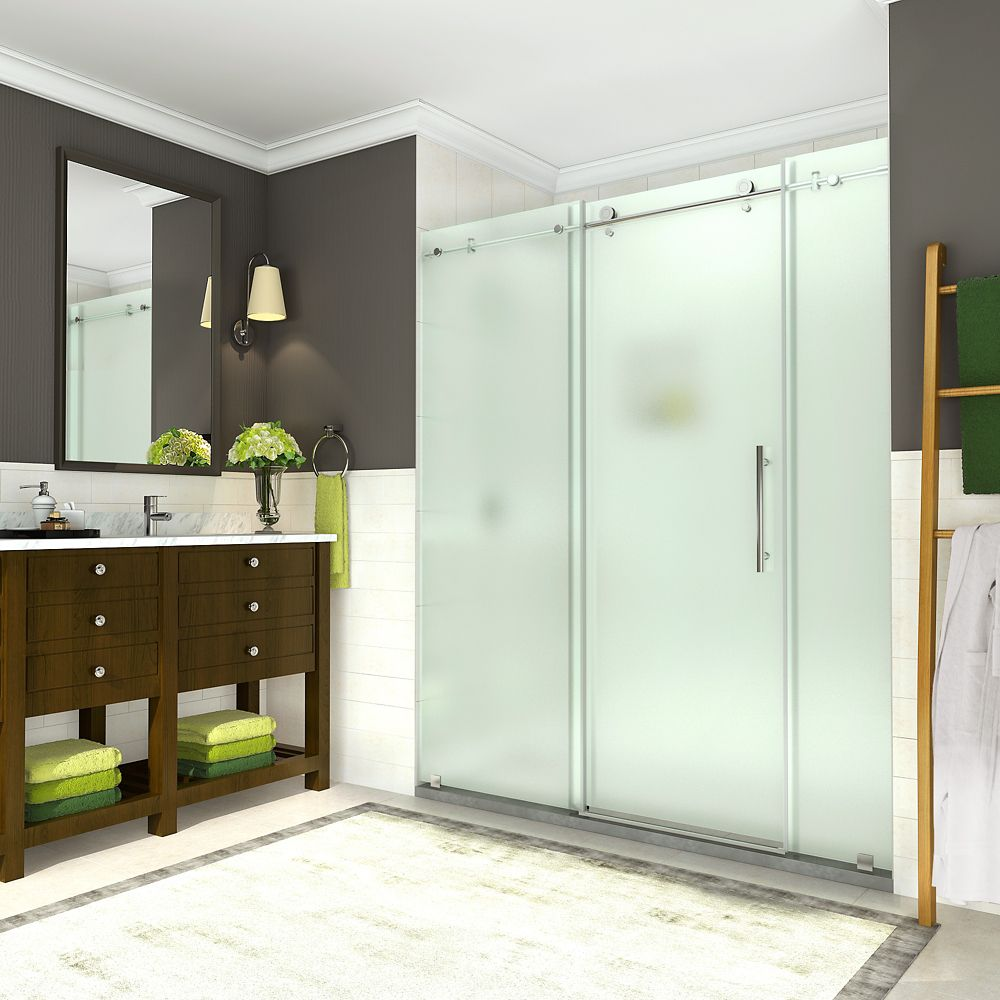 Coraline 68 inch to 72 inch x 76 inch Frameless Sliding Shower Door with Frosted Glass in Chrome