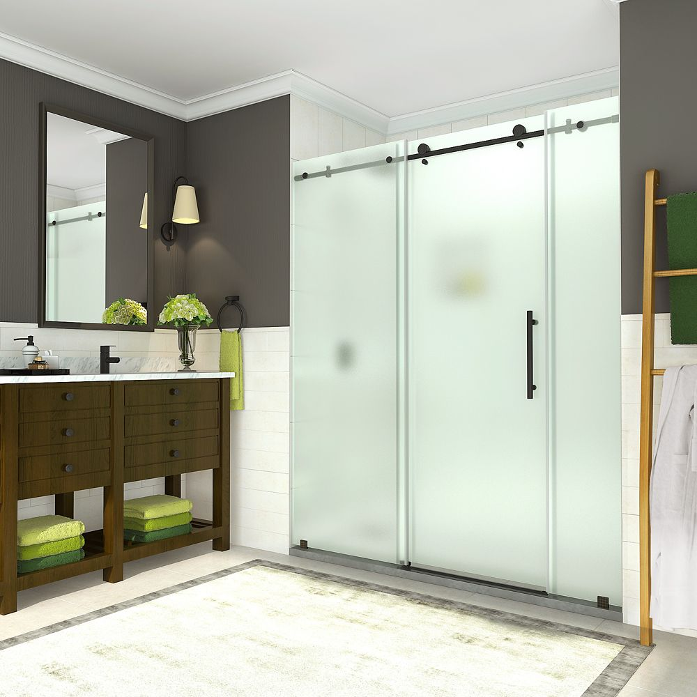 Aston Coraline 68 - 72 inch x 76 inch Frameless Sliding Shower Door with Frosted Glass in Oil Rubbed Bronze