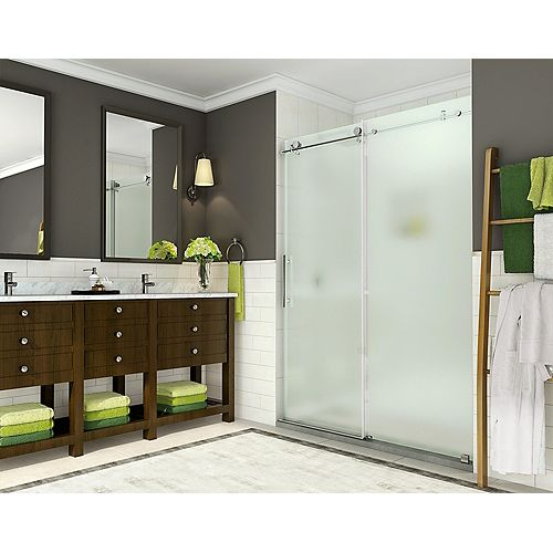 Aston Coraline 44 - 48 inch x 76 inch Frameless Sliding Shower Door with Frosted Glass in Stainless Steel