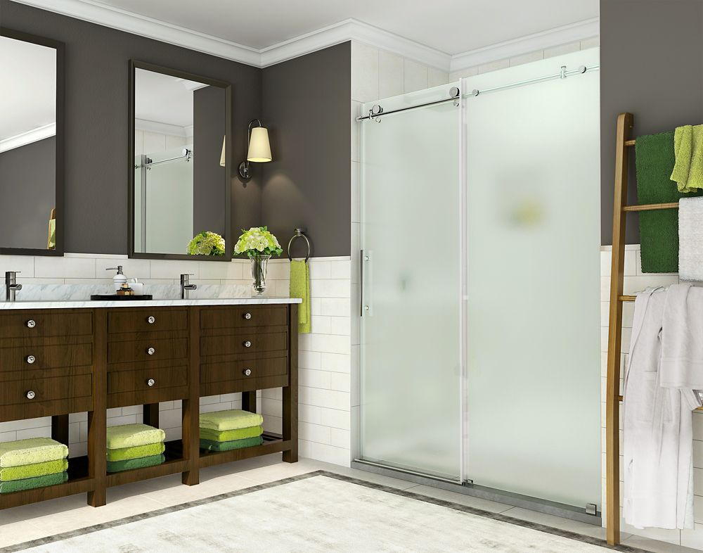 Aston Coraline 56 - 60 inch x 76 inch Frameless Sliding Shower Door with Frosted Glass in Stainless Steel