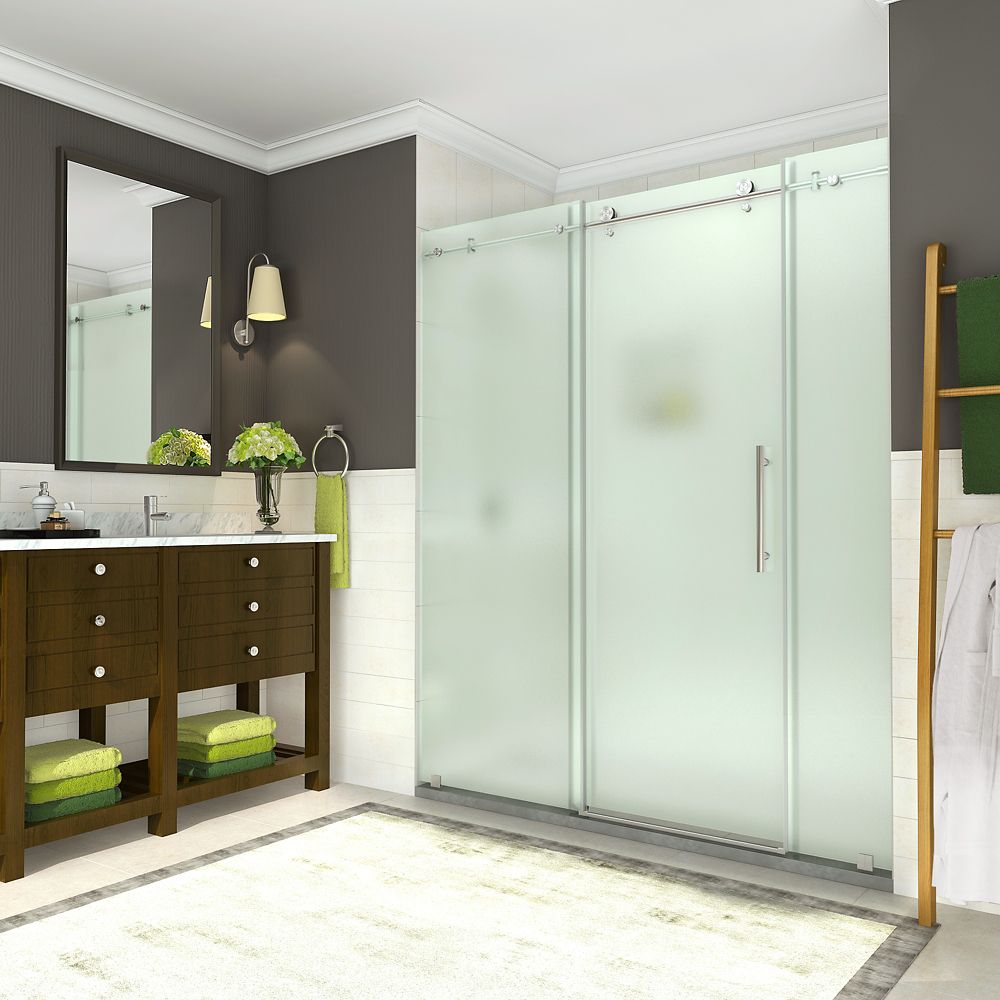 Aston Coraline 68 - 72 inch x 76 inch Frameless Sliding Shower Door with Frosted Glass in Stainless Steel