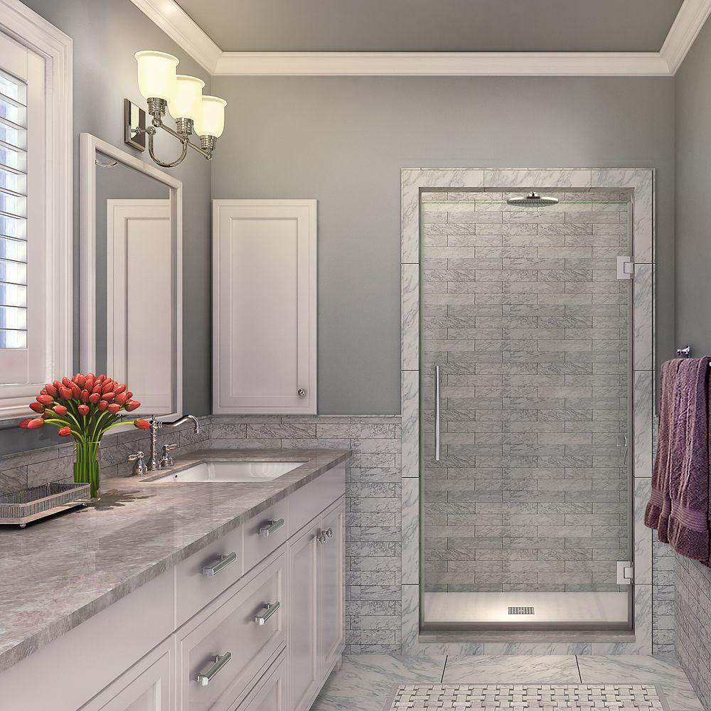 Kinkade 30.75 inch to 31.25 inch x 72 inch Frameless Hinged Shower Door in Chrome