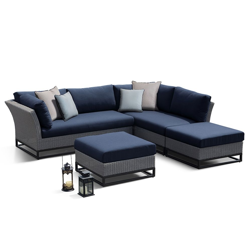 Ove Decors Torrance 4-piece Sectional Set Dark Blue