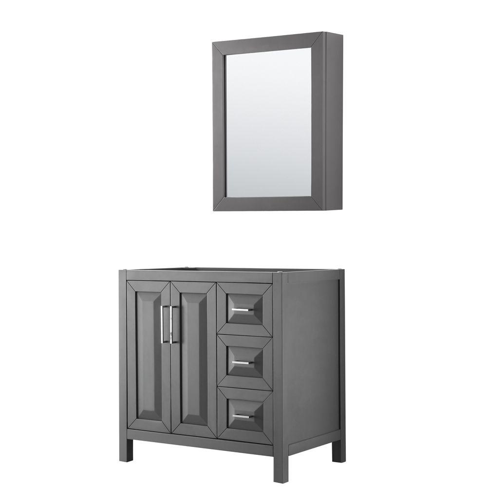 Daria 36 inch Single Vanity in Dark Gray, No Top, No Sink, Medicine Cabinet