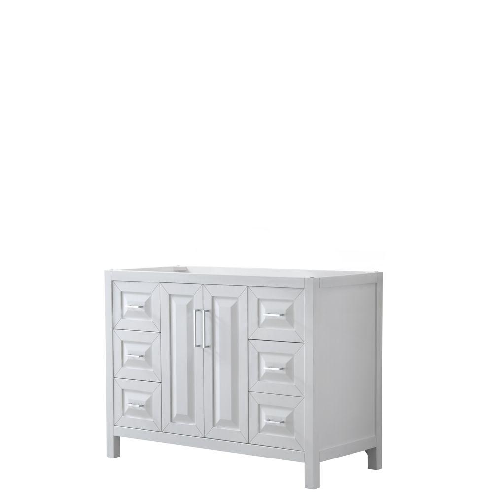 Wyndham Collection Daria 48 inch Single Vanity in White, No Top, No Sink, No Mirror