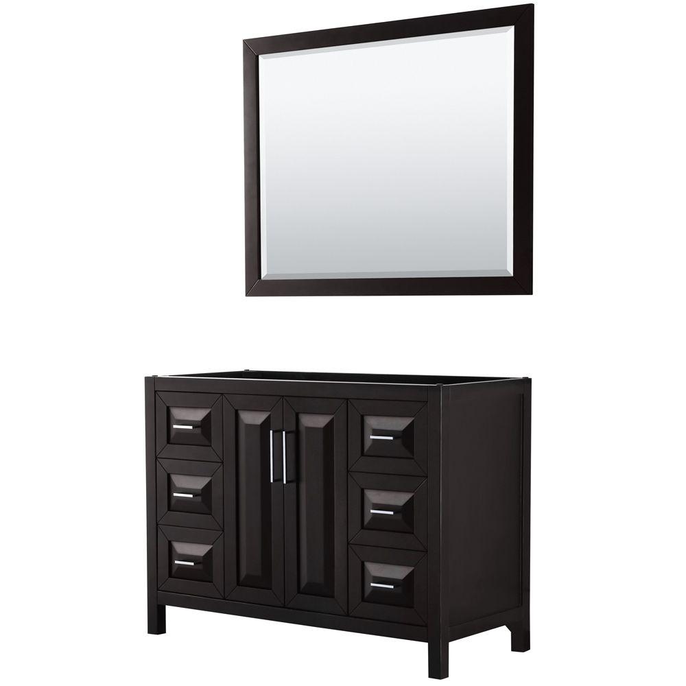 Daria 48 inch Single Vanity in Dark Espresso, No Top, No Sink, 46 inch Mirror