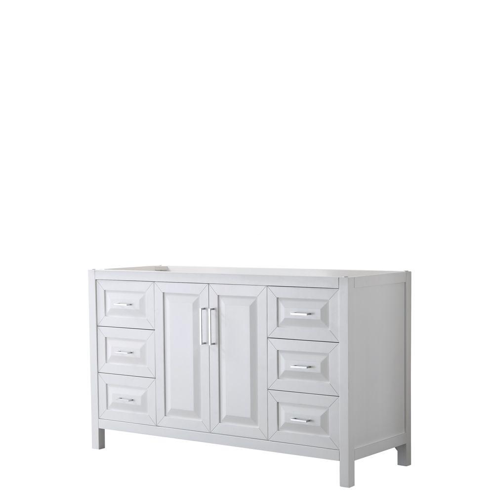Daria 60 inch Single Vanity in White, No Top, No Sink, No Mirror