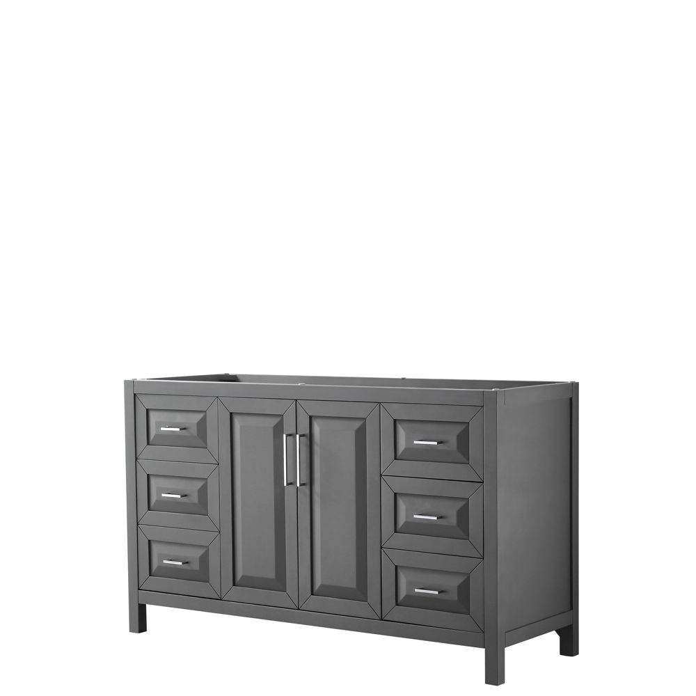 Wyndham Collection Daria 60 inch Single Vanity in Dark Gray, No Top, No Sink, No Mirror