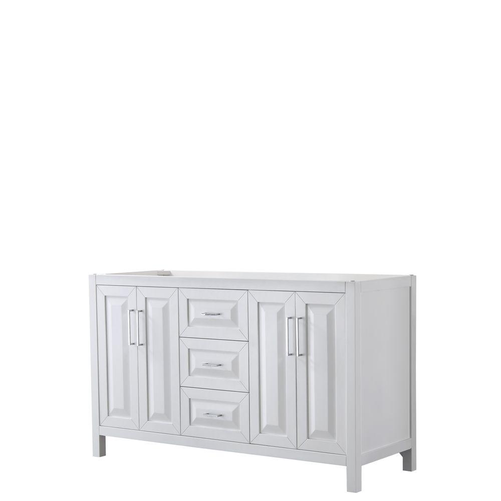 Daria 60 inch Double Vanity in White, No Top, No Sink, No Mirror