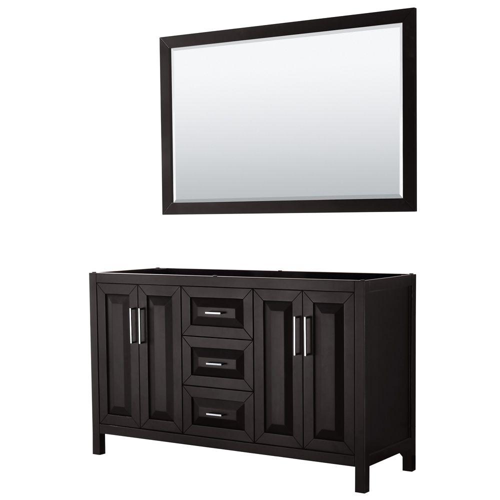 Daria 60 inch Double Vanity in Dark Espresso, No Top, No Sink, 58 inch Mirror