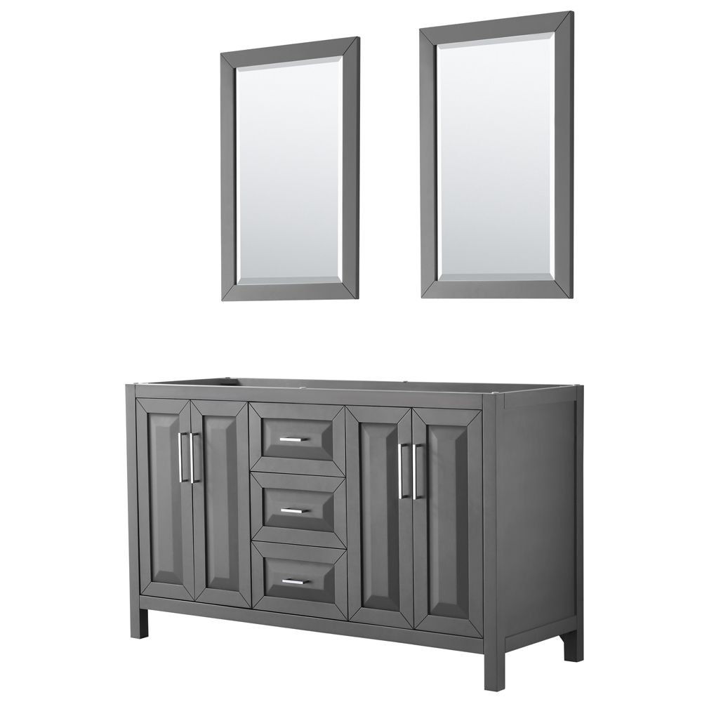 Daria 60 inch Double Vanity in Dark Gray, No Top, No Sink, 24 inch Mirrors