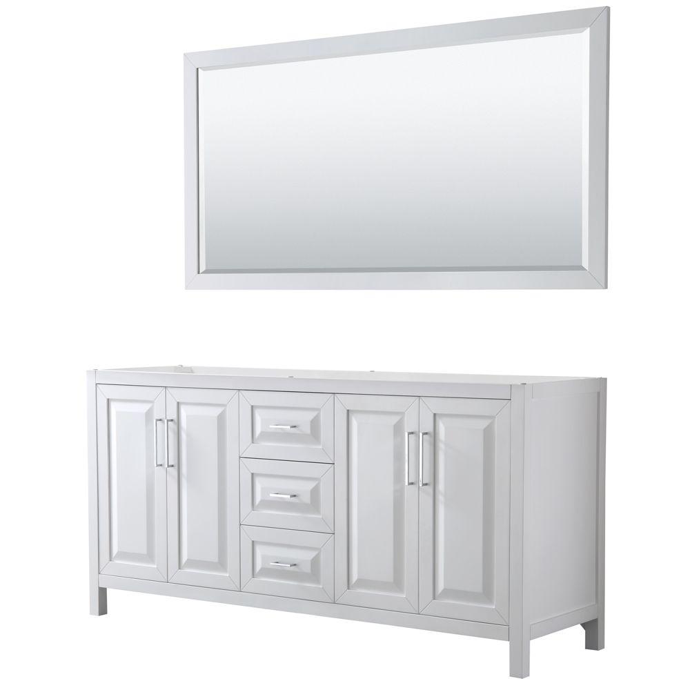 Daria 72 inch Double Vanity in White, No Top, No Sink, 70 inch Mirror