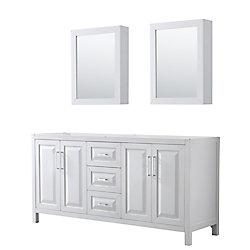 Wyndham Collection Daria 72 inch Double Vanity in White, No Top, No Sink, Medicine Cabinets