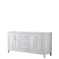 Wyndham Collection Daria 72 inch Double Vanity in White, No Top, No Sink, No Mirror