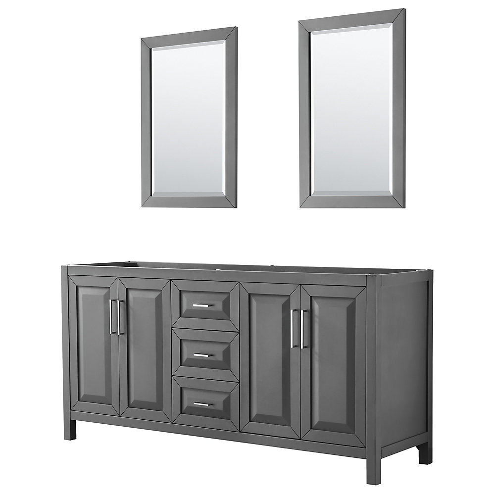 Fabulous Daria 72 Inch Double Vanity In Dark Gray No Top No Sink 24 Inch Mirrors Home Remodeling Inspirations Cosmcuboardxyz
