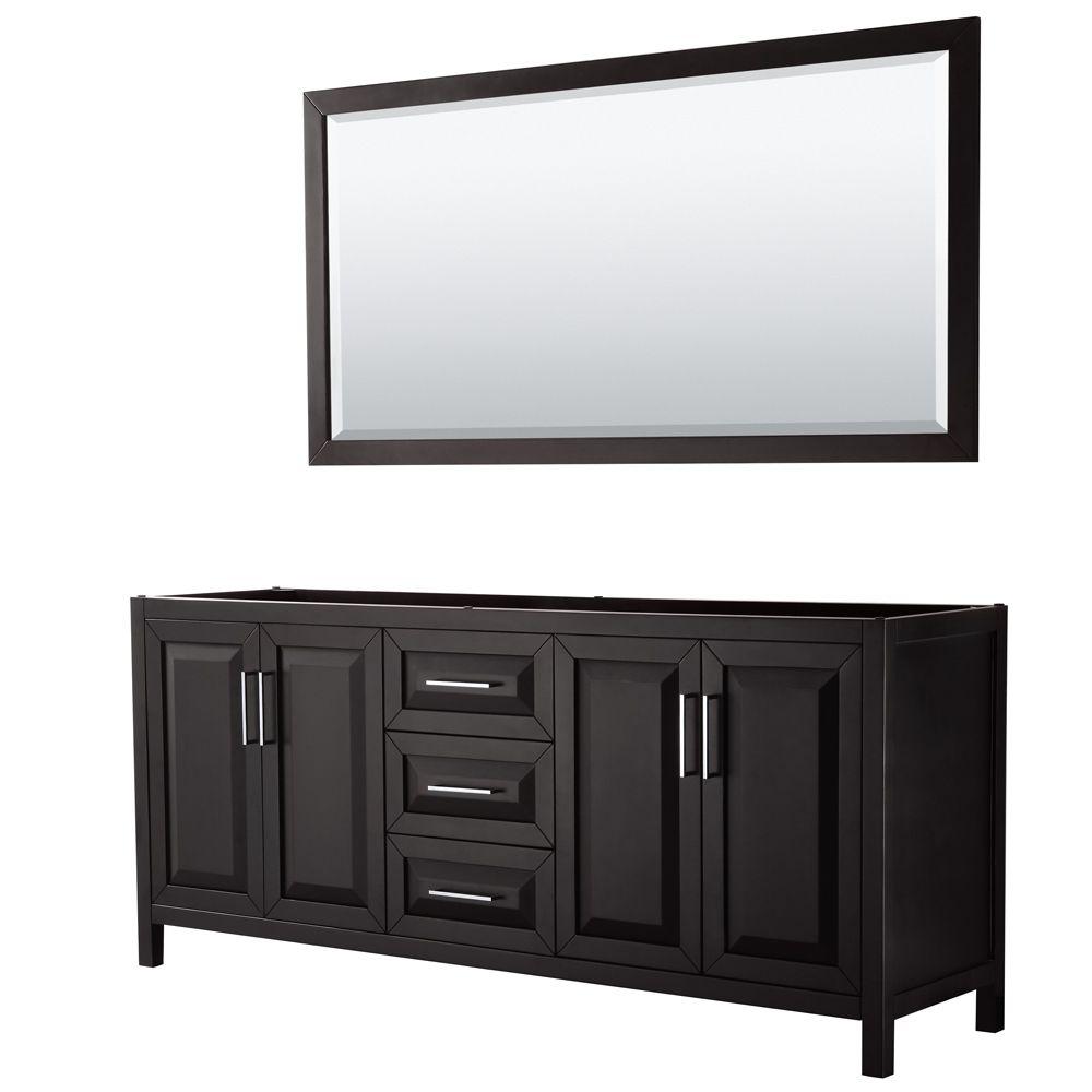 Daria 80 inch Double Vanity in Dark Espresso, No Top, No Sink, 70 inch Mirror