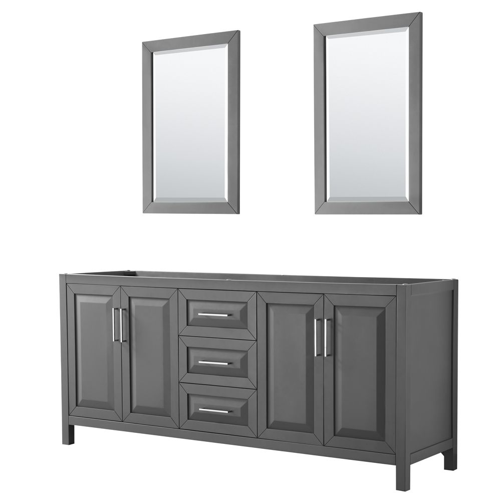 Wyndham Collection Daria 80 inch Double Vanity in Dark Gray, No Top, No Sink, 24 inch Mirrors