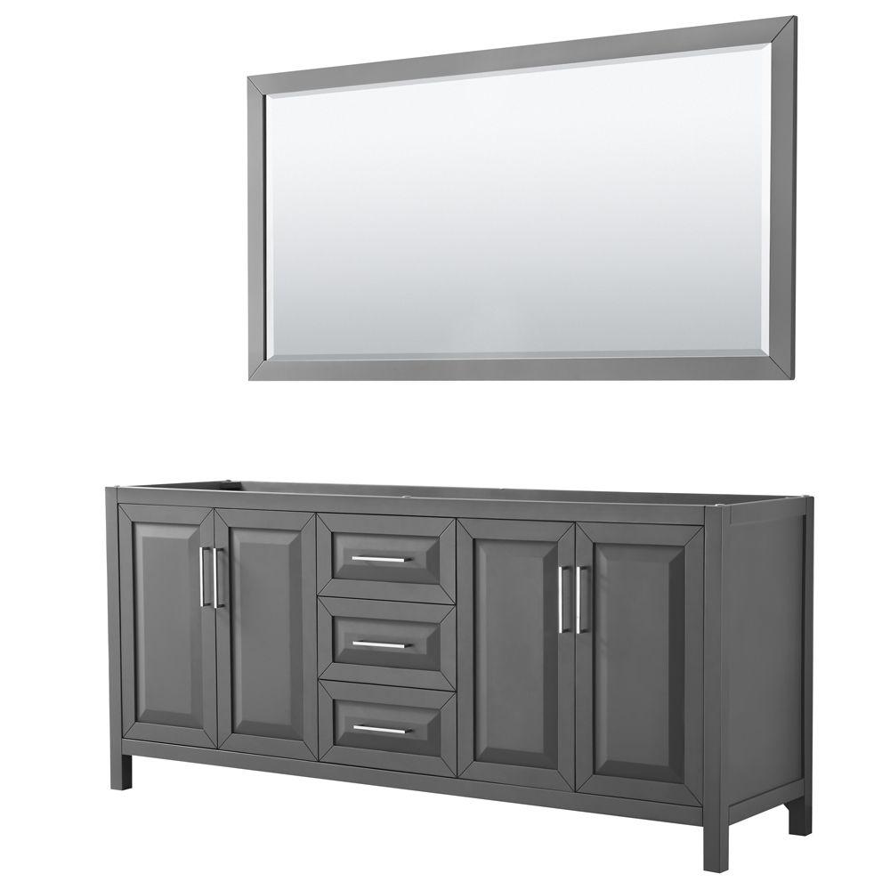 Daria 80 inch Double Vanity in Dark Gray, No Top, No Sink, 70 inch Mirror
