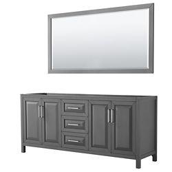 Wyndham Collection Daria 80 inch Double Vanity in Dark Gray, No Top, No Sink, 70 inch Mirror