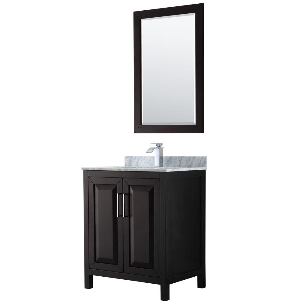 Daria 30 inch Single Vanity in Dark Espresso, White Carrara Marble Top, Square Sink, 24 inch Mirror