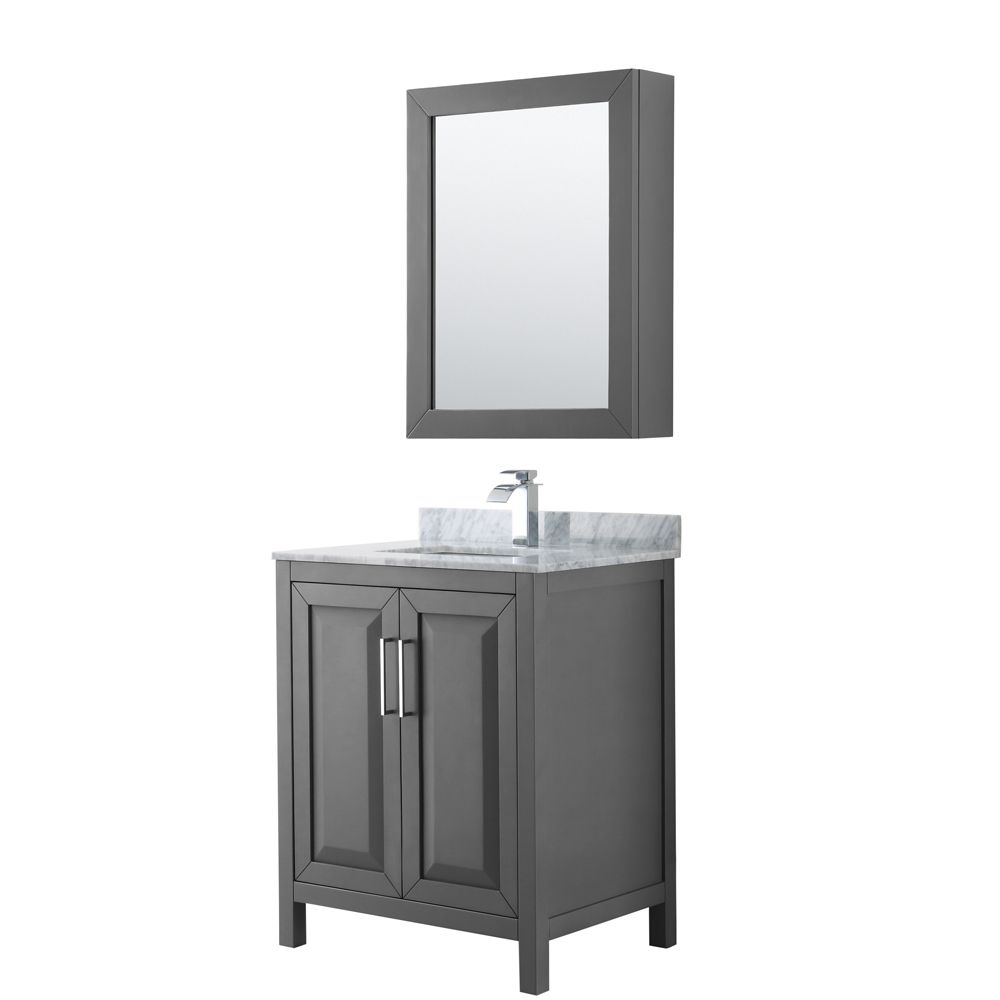 Daria 30 inch Single Vanity in Dark Gray, White Carrara Marble Top, Square Sink, Medicine Cabinet